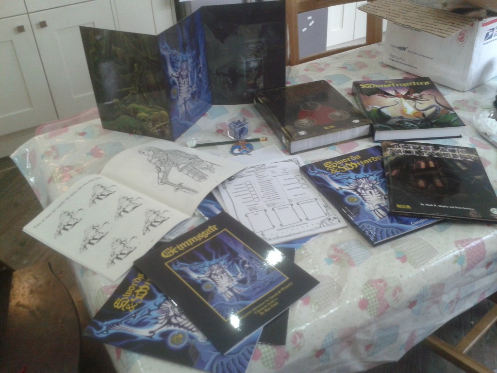 My recent haul from the Swords and Wizardry Kickstarter